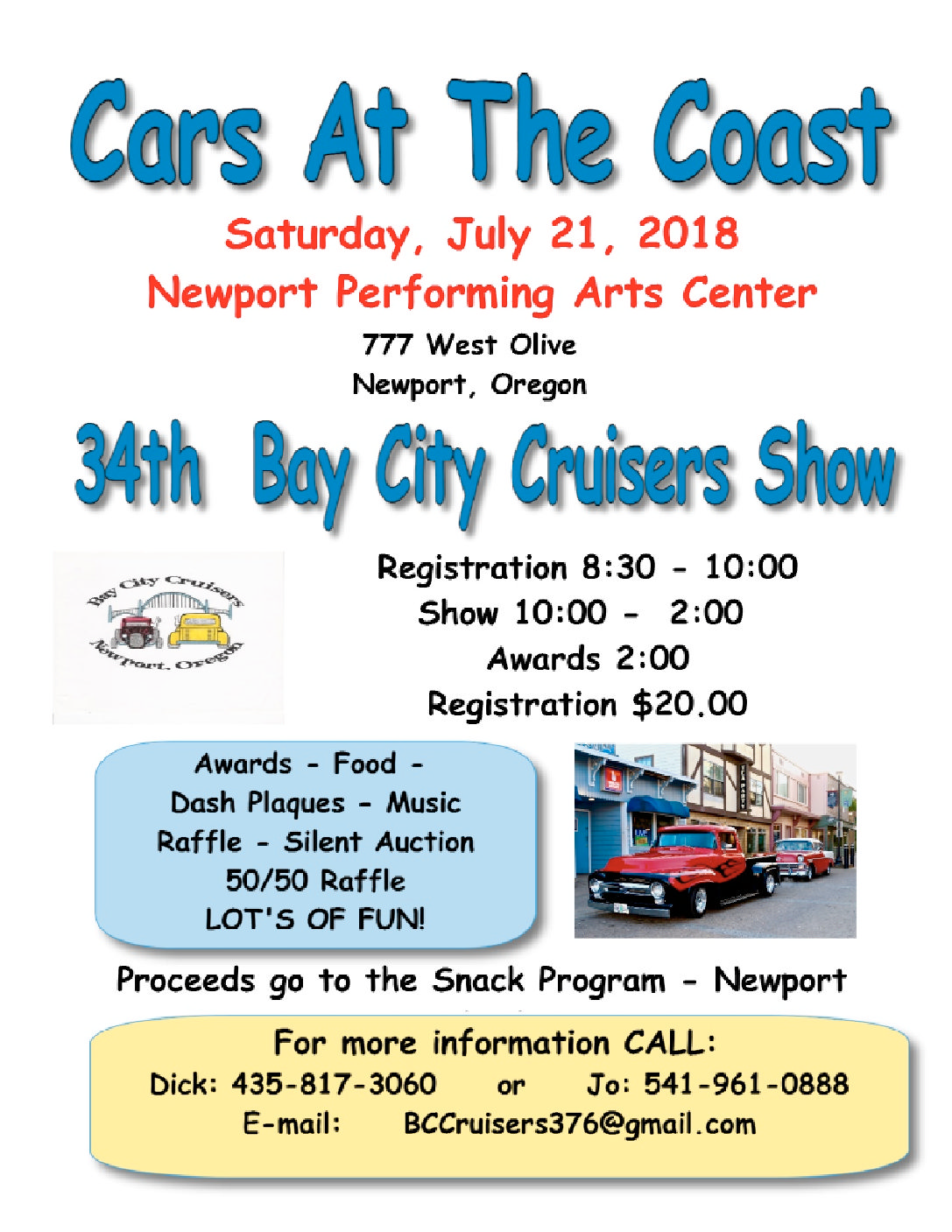 Upcoming Events Bay City Cruisers Cars On The Coast Newport - Bay city car show 2018